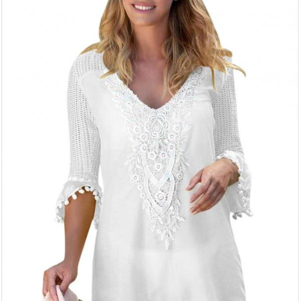 Fashion V Neck Beach Cover Up - White