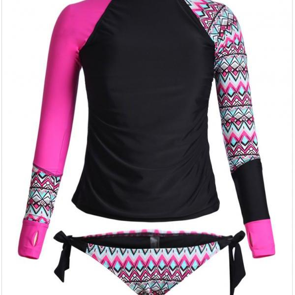 High Quality Long Sleeve Tankini Swimsuit - Rose