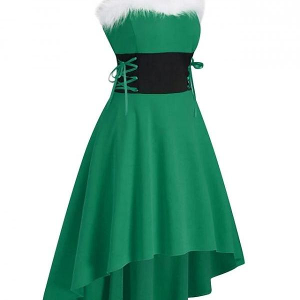 New Sleeveless Solid Color Lace up Patchwork Winter Casual Christmas Dress - Green