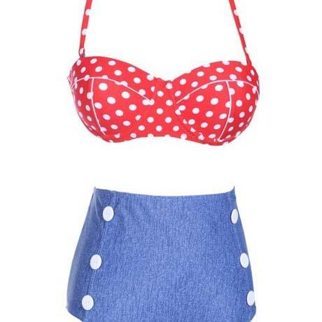 Red Dot Tops with Deep Blue Thong Summer Swimwear