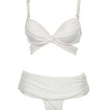 Fashion Two Pieces Design Bra with Thong Swimwear - White